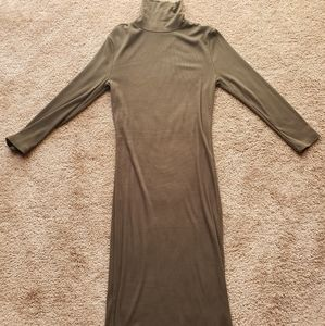 Forever 21 Army Green thin Turtle Neck Midi Dress